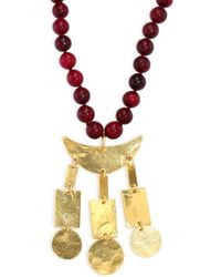 Nest - Red Horn & Hammered Pendant Necklace/34 - Lyst