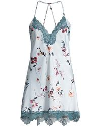In Bloom Ivy Chemise Lace Night Gown - Blue