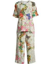 Johnny Was Jailyn Floral Silk 2-piece T-shirt & Pants Pajama Set - Multicolor