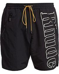 Rhude Logo Drawstring Shorts - Black