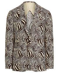 Ralph Lauren Purple Label Kent Zebra-print Linen Blazer - Brown