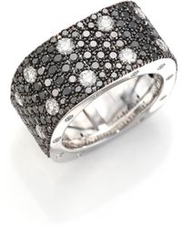 Roberto Coin - Pois Moi Black/white Diamond & 18k White Gold Ring - Lyst