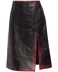 Balenciaga Leather High Slit Pencil Skirt - Black