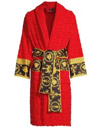 Versace Logo Toweling Baroque Bathrobe - Red