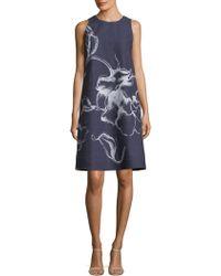 Lafayette 148 New York - Printed Denim Mini Dress - Lyst