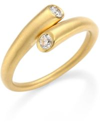 Carelle Whirl Diamond & 18k Yellow Gold Bypass Ring - Metallic