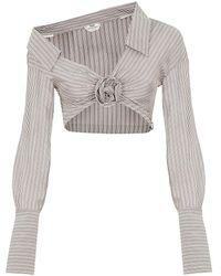 Fendi Striped Silk Crop Top - Gray