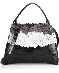 Nancy Gonzalez - Jolene Floral Embellished Crocodile Top Handle Bag - Lyst