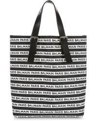 Balmain Coated Canvas Logo Tote - Black