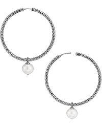 John Hardy Chain Sterling Silver & 10mm White Freshwater Pearl Hoop Earrings - Metallic