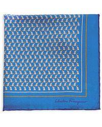 Ferragamo Elephant-print Pocket Square - Blue