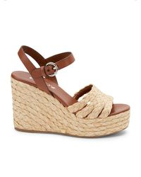 Prada 105 Leather And Woven Raffia Espadrille Wedge Sandals - Multicolor