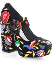 Alice + Olivia - Houston Embroidered Velvet Mary Jane Platform Pumps - Lyst