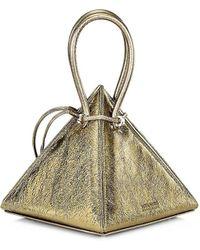 Nita Suri Lia Volcanic Pyramid Leather Top Handle Bag - Metallic