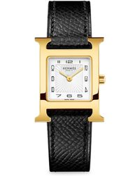 Hermès - Heure H, Gold Plate & Leather Strap Watch - Lyst