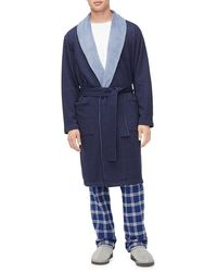 UGG Heritage Comfort Robinson Double-knit Robe - Blue