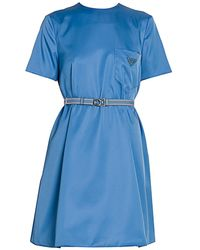 Prada Patch Pocket Belted Swing Dress - Blue