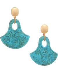 Nest - Carved Turquoise & 24k Goldplated Statement Earrings - Lyst