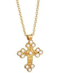 Sylvia Toledano Croix 22k Yellow Goldplated & Cultured Pearl Pendant Necklace - Metallic