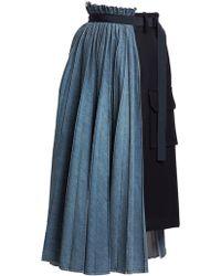 Sacai Half-&-half Denim Pleated Cargo Skirt - Blue