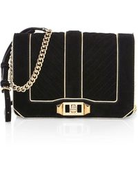 Rebecca Minkoff - Small Love Chevron Quilted Suede Crossbody Bag - Lyst