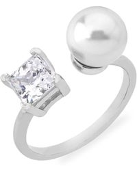 Majorica - Faux Pearl & Crystal Open Ring - Lyst
