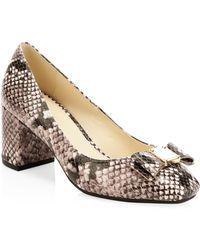 Cole Haan - Women's Tali Snake-embossed Leather Block-heel Pumps - Lyst