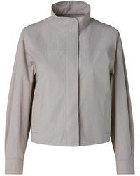 Akris Punto Cropped Gabardine Boxy Jacket - Gray