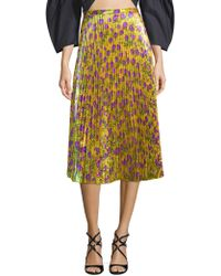Delfi Collective | Clara Floral Pleated Midi Skirt | Lyst
