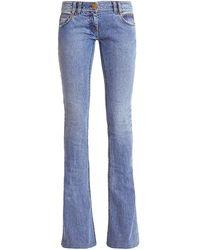 Balmain Monogram Low-rise Bootcut Jeans - Blue