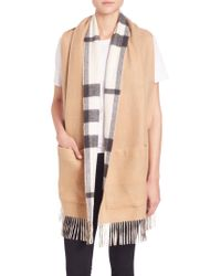 Burberry Helene Cashmere & Wool Pocket Stole - Natural
