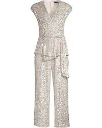 Jay Godfrey Susie Cropped Sequin Jumpsuit - Metallic