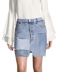 Kendall + Kylie - Patchwork Denim Pencil Skirt - Lyst