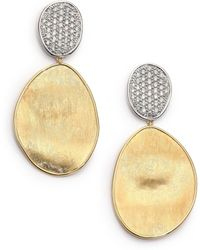 Marco Bicego | Lunaria Diamond & 18k Yellow Gold Large Drop Earrings | Lyst