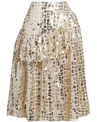 Simone Rocha Ruffled Sequin Skirt - Metallic