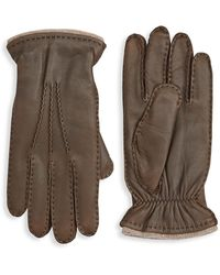 Saks Fifth Avenue Collection Deer Skin Leather Gloves - Brown