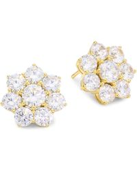 Adriana Orsini - 18k Goldplated Sterling Silver Floral Stud Earrings - Lyst