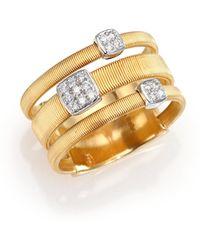 Marco Bicego - Masai Diamond, 18k Yellow Gold & 18k White Gold Station Ring - Lyst