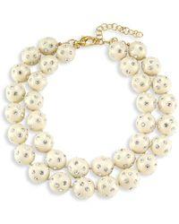Lele Sadoughi Crystal-embellished Layered Bubble Collar Necklace - Metallic