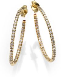Roberto Coin - Diamond & 18k Yellow Gold Hoop Earrings/1.2 - Lyst