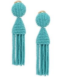 Oscar de la Renta - Short Beaded Tassel Clip-on Earrings - Lyst