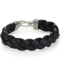 John Hardy - Classic Chain Sterling Silver & Leather Braided Hook Bracelet - Lyst