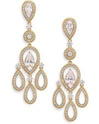Adriana Orsini - Pave Pear Chandelier Earrings/goldtone - Lyst