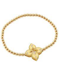 Roberto Coin Petite Venetian Large Station 18k Yellow Gold & Diamond Stretch Bracelet - Metallic