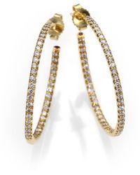 Roberto Coin Diamond & 18k Yellow Gold Hoop Earrings/1.2 - Metallic