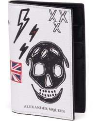 Alexander McQueen Skull Leather Bifold Pocket Organizer - Black