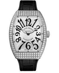 Franck Muller Vanguard Stainless Steel, Diamond, Alligator & Rubber Strap Watch - Black