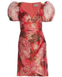 THEIA Sybille Metallic Floral Mini Dress - Red