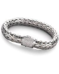 John Hardy Diamond, Sterling Silver & 18K White Gold Bracelet - Metallic