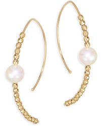 Mizuki - 14k Yellow Gold & Pearl Marquis Hoop Earrings - Lyst
